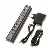 Хаб концентратор Digital USB 2.0 на 10 портов с блоком питания