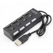 Концентратор USB HUB хаб Digital на 4 порта Black
