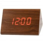 Часы VST 864 коричневое дерево (красная подсветка)
