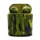 Беспроводные Bluetooth наушники HBQ I7S TWS Stereo камуфляж зеленые