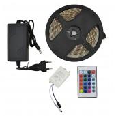 Лента светодиодная в силиконе (влагозащищенная) RGB 5050 - полный комплект 5 метров